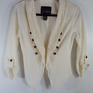 Daytrip | Ivory Lace Blazer Style Cardigan Top S